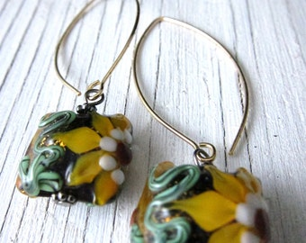 YELLOW SUNFLOWER Earrings,  Murano Glass Lampwork