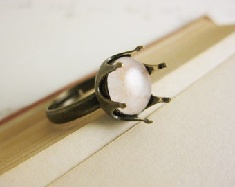 White and Gold Crown Ring - crown of thorns - wintery white resin spikey statement ring - brass adjustable band