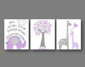 You make me happy Baby nursery art nursery wall art kids art elephant tree Birds giraffe purple gray Set of three prints