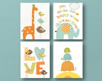 You make me Happy - Orange green and yellow - kids room decor baby art nursery  turtle giraffe birds elephant nursery Set of four prints
