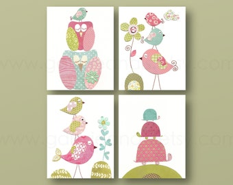 Girl Nursery Art Print nursery art baby nursery kids art nursery print pink blue green turtle  Birds owl Set of 4 prints
