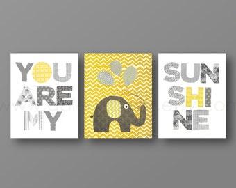 Baby Boy Nursery Decor Grey yellow chevron Nursery art baby nursery wall art Kids wall art elephant Set of 3 Prints You Are My Sunshine