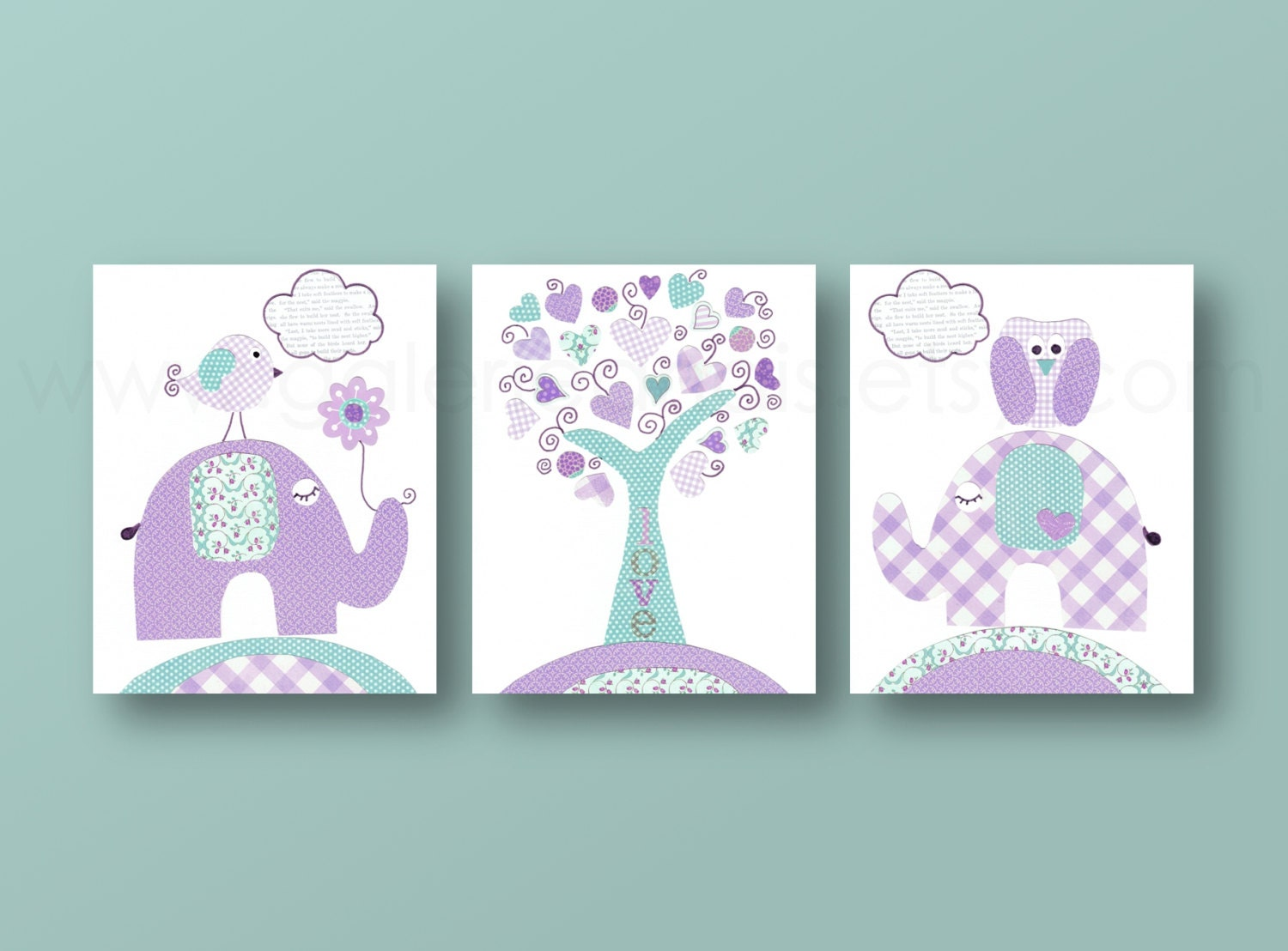 turquoise purple kids wall art baby nursery decor by galerieanais. Black Bedroom Furniture Sets. Home Design Ideas