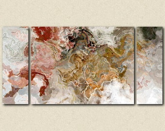 "Oversize abstract expressionism stretched canvas print, 30x60 to 40x78 triptych, in autumn colors, from abstract painting ""Early Snow"""