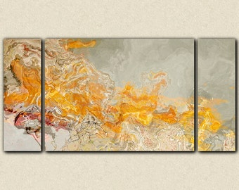 """Abstract expressionism large triptych canvas print, 30x60 to 40x78 in orange and cream, from abstract painting """"La Patate Chaud"""""""