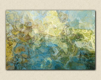 "Abstract expressionism canvas print, 30x40 to 40x54  gallery wrap giclee in aqua and white, from abstract painting ""Winter Creek"""