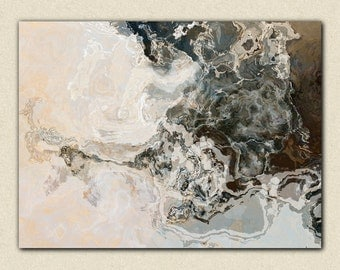 "Large abstract expressionism stretched canvas print, 24x32 to 40x54 in titanium, from abstract painting ""Geode"""