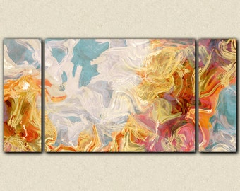 "Large wall art abstract, 30x60 to 40x78 triptych giclee stretched canvas print in rust, orange and blue, from abstract painting ""Ridge"""