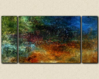 """Large triptych art stretched canvas print, 30x60 to 40x78, sofa sized abstract art in dark tones, from abstract painting """"Night Mood"""""""