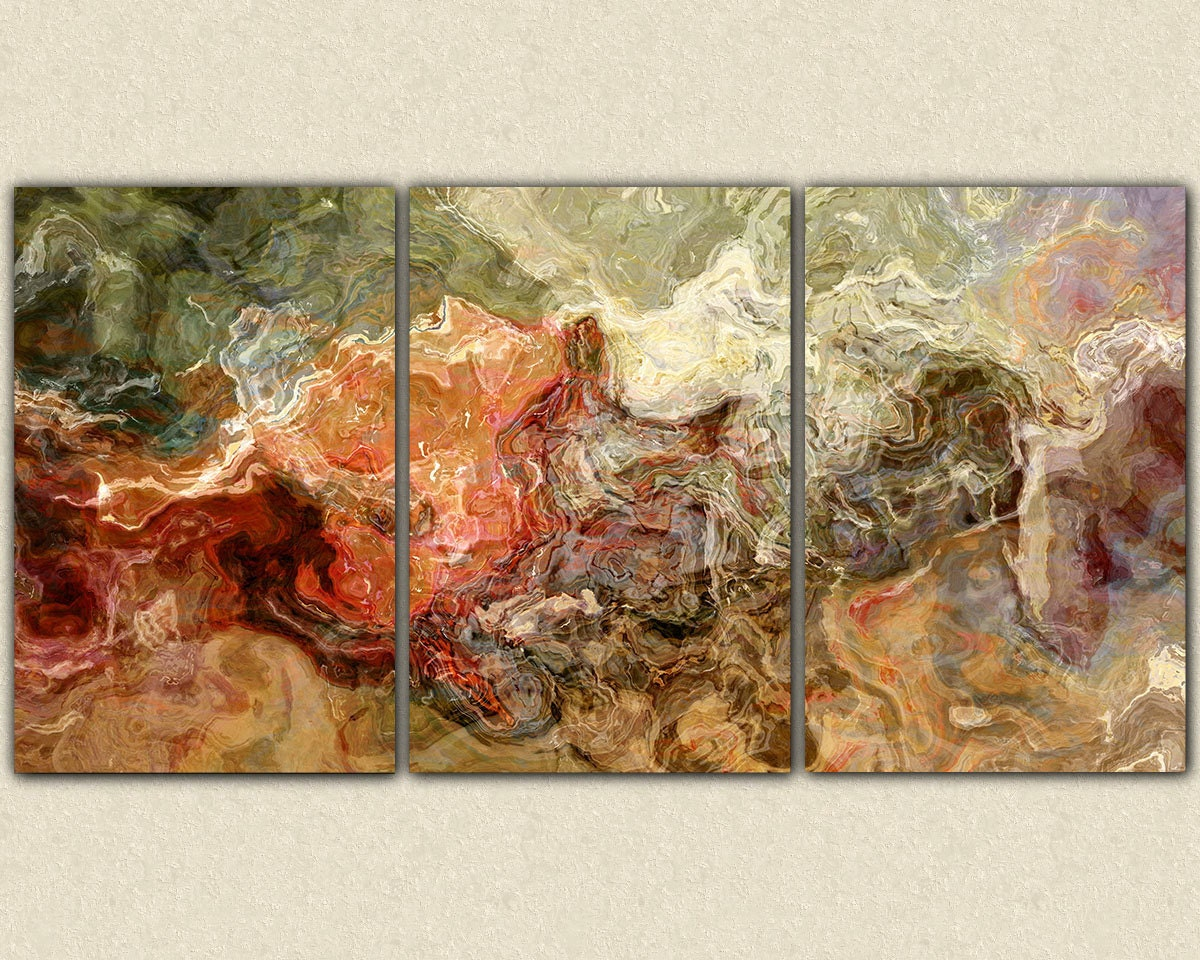 Extra Large Abstract Art Canvas Print Triptych 40x78 Giclee