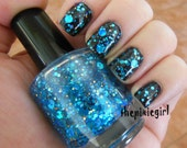 Blue Circle Dot Gold Holographic Glitter Indie Nail Polish Lacquer Handmade