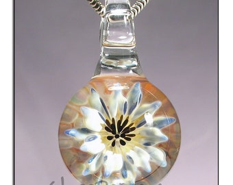 Flower Jewelry Glass Pendant Lampwork Necklace Focal - Handmade Glass Peace Glass Jewelry (5147)