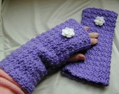 Crochet Fingerless Gloves Wrist Warmers with Irish Rose Decoration