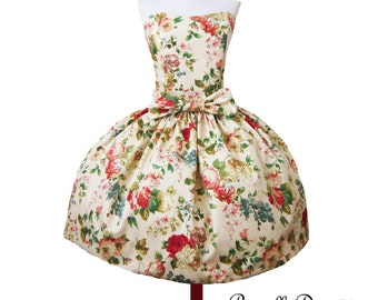 Summer Sale Floral Tea Party Dress 1950 inspired Full Swing Skirt Prom Custom in your size New Fabrics
