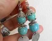 Turqoise earrings, Gypsy earrings,  gift for her, bohemian dangle earrings, turquoise jewelry