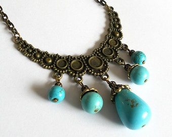 Turquoise necklace, brass necklace, crescent necklace, ethnic jewelry, bohemian necklace, rustic necklace, brass necklace, turquoise jewelry