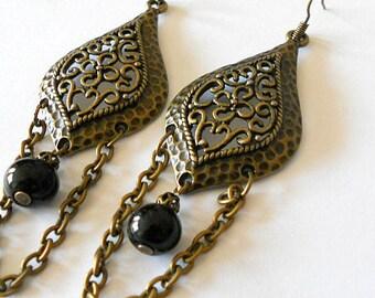 Long gypsy earrings, long antiqued brass and onyx dangling earrings, Boho jewelry