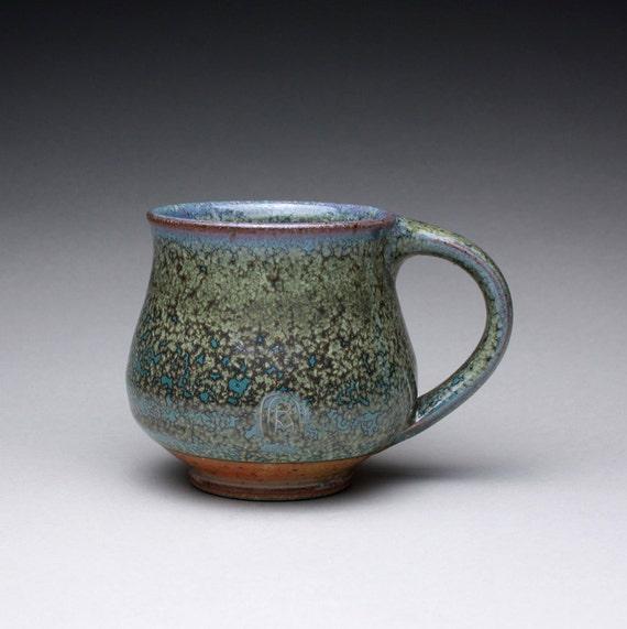 handmade ceramic mug pottery cup teacup with green ash glaze