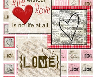 Vintage Love (.75 x .83 scrabble tile Inch) Images Digital Collage Sheet  SALE printable stickers love life faith hope create