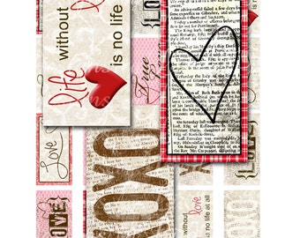 Instant Download - Vintage Love (1 x 2 Inch) Images Digital Collage Sheet  SALE printable stickers love life faith hope create