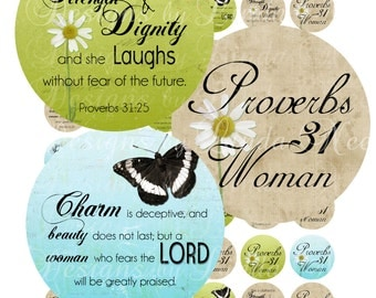 Instant Download - PROVERBS 31 Woman CHRISTian Scripture (2 Inch Round) Bottle Cap Images Digital Collage Sheet  printable stickers Bible