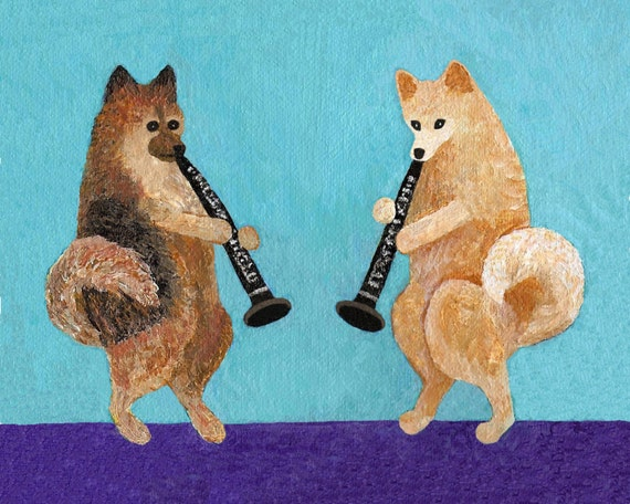"SPECIAL ORDER--Pomeranian Clarinet Duo- Original Painting on 5 x 7"" Stretched Canvas"