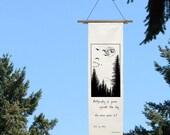 Calligraphy of Geese - Silk Scroll - bunting - Buson - Moon - moonlight - Fir Trees - poetry -Garden Art - Geese -Bell