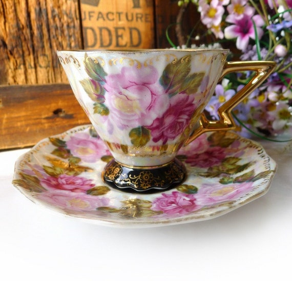 Vintage Roses Teacup & Saucer Shades of Pink Lustreware Art Deco Fan Crest MIJ - Treasury Item
