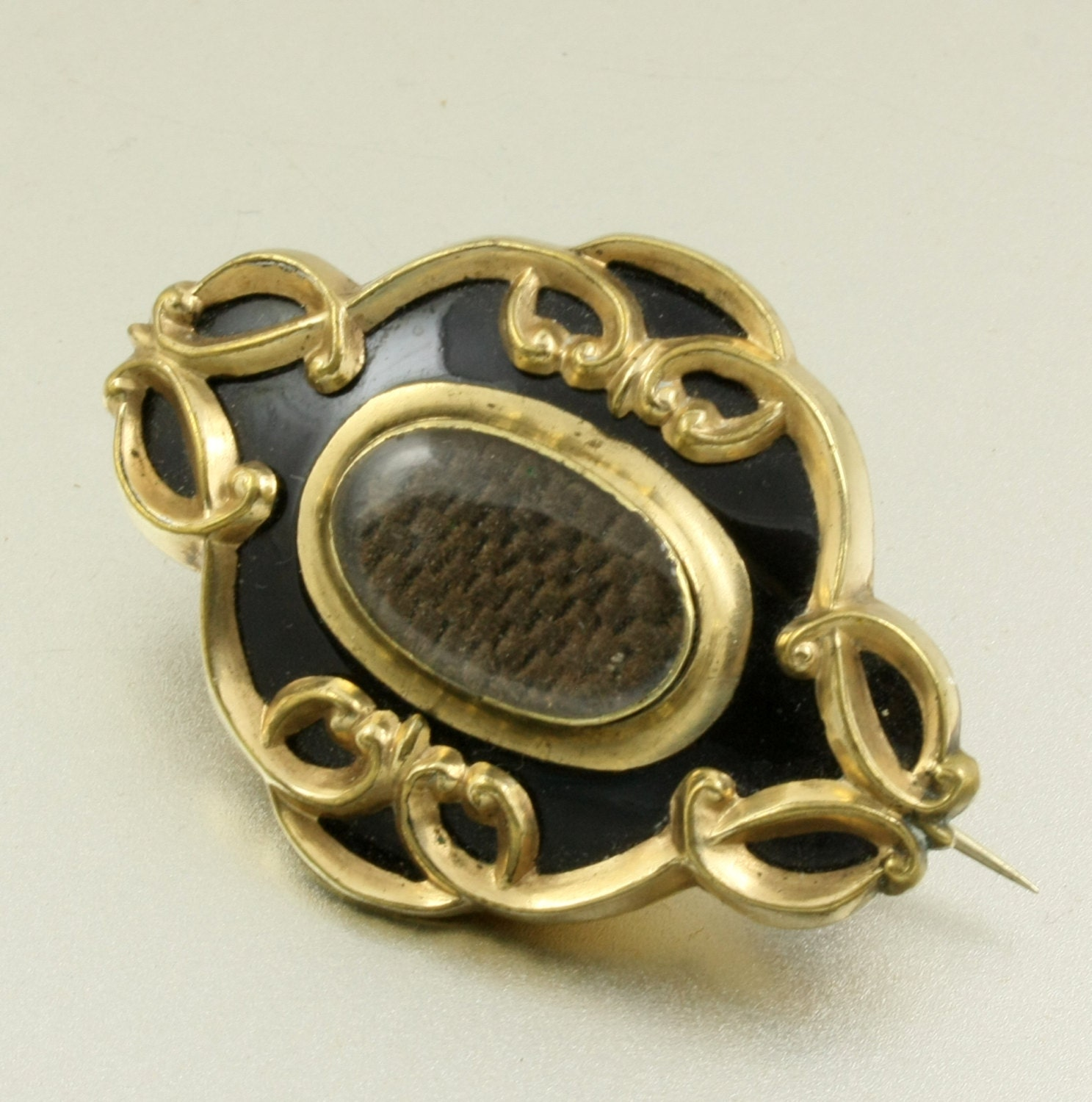 mourning jewelry hair brooch black enamel gold