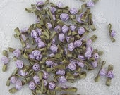 72pc LAVENDER Satin Ribbon Fabric Flower Applique Baby Doll rose bud bow