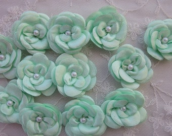 12pc Christening Baby Doll Mint Green Satin Ribbon Rose Flowers w Pearl for Bridal Hair Accessory Bow