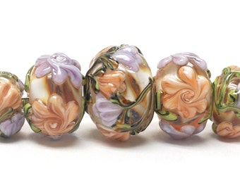 Handmade Glass  Lampwork Beads  Sets - Five Graduated Light Pink w/Orange Floral  Rondelle Beads -  10801011