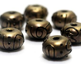 Handmade Glass Lampwork Bead Sets - Seven Golden Pearl Surface w/Black Rondelle Beads 11204801