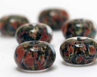 Handmade Glass Lampwork Bead Set - Six Multi-color w/Blue & Orange Rondelle Beads 11006621