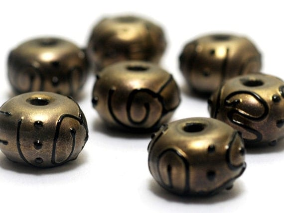 Handmade Glass Lampwork Bead Sets - Seven Golden Pearl Surface w/Black Rondelle Beads 11204801
