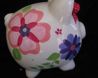 personlaized piggy bank pink and purple silver trivoli