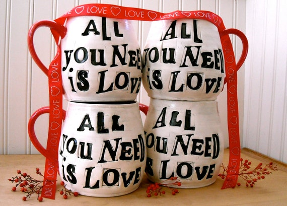 Personalized ALL You Need Is Love Mug Set - 2 Custom Wheel Thrown Pottery Wedding Table Settings Beatles Cup, Handmade TO ORDER Pair of Mugs