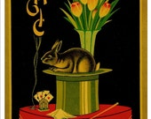 Magicians Rabbit with Top Hat - Vintage advertising label in bright and vibrant colors instant download PDF and JPG (No.1)