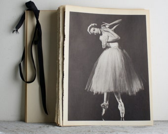 Vintage Ballerina Print - Book Plate - Alicia Markova - Les Sylphides - Ballet - Wedding Bride Tutu