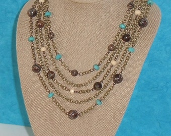 Tibetan Agate dZi, Turquoise and Moukaite Jasper Gemstone Five Strand Necklace