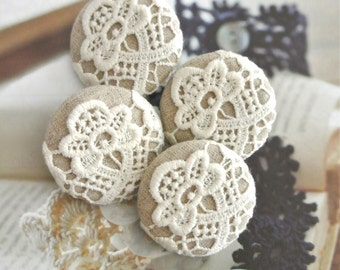 Fabric Buttons, Large Victorian Light Cream Beige Floral Flower Lace Fabric Covered Buttons, Wedding Fridge Magnets, 1.5 Inches 4's