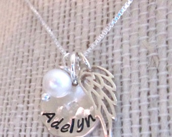 Angel Baby Necklace -  Mommy Necklace - Angel Wing Necklace -mothers necklace with pearl