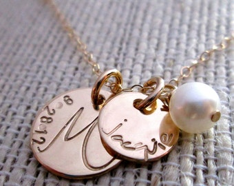 Gold Family  Necklace - 14 kt Solid Gold Necklace - Mother's Necklace - Fine Jewelry