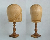 Primitive Artifact ART DECO Flapper CLOCHE Millinery Wood Hat Block & Stand