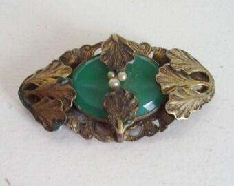 Art Nouveau brooch brass brooch acanthus leaf brooch green stone brooch pearl brooch antique jewelry antique brooch