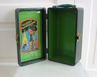 Vintage Microscope Case, Microscope Box, Green Case, Green Box,  Industrial Storage, Wood Box