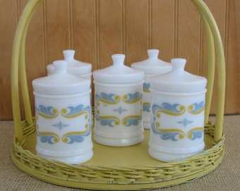 Vintage Milk Glass Spice Jars Canisters Yellow White Gray Cottage Chic