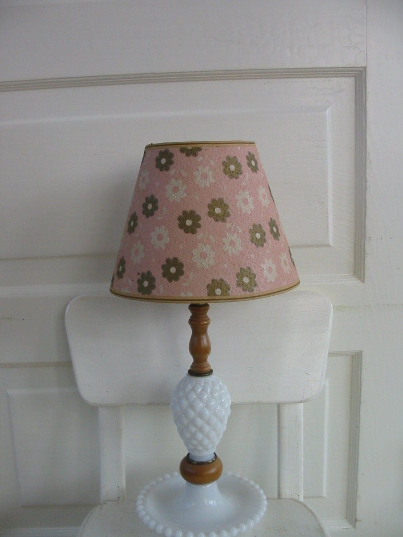 vintage milk glass lamp lampshade white pink flowers nursery