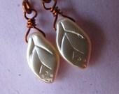 Dainty Ivory Beige and Copper Earrings