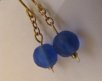 Morning Glory Blue and Gold Earrings